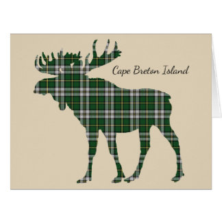 Cute Cape Breton Island moose tartan card
