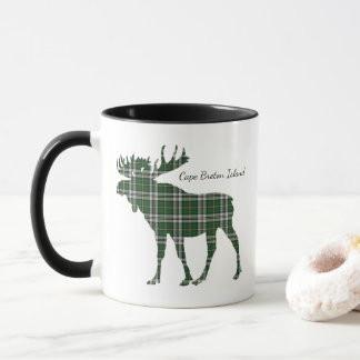 Cute Cape Breton Island moose tartan coffee mug