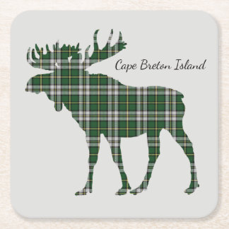 Cute Cape Breton Island moose tartan drink coaster