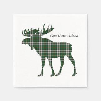 Cute Cape Breton Island moose tartan paper napkin