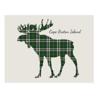 Cute Cape Breton Island moose tartan postcard
