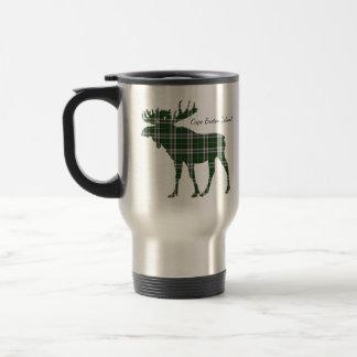 Cute Cape Breton Island moose tartan travel mug
