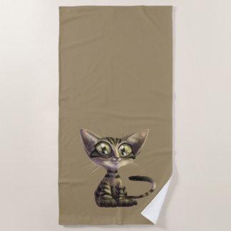 Cute Caricature Cat Beach Towel