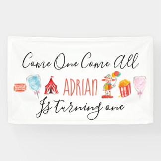 Cute carnival circus birthday party banner