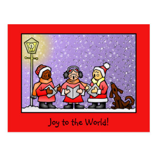 Cute Carolers & Singing Dog Personalized Postcard
