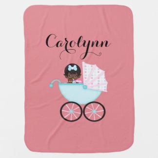 Cute Carriage African American Girl Baby Blanket
