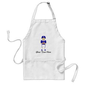 Cute Cartoon American Football Player in Blue Kit Apron