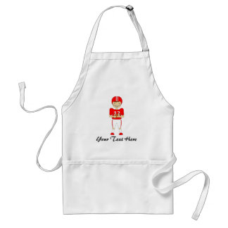 Cute Cartoon American Football Player in Red Kit Adult Apron