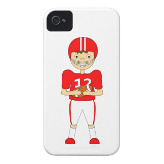 Cute Cartoon American Football Player in Red Kit Case-Mate iPhone 4 Case