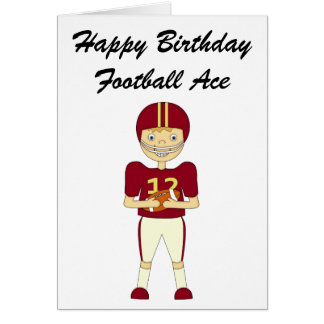 Cute Cartoon American Football Player Maroon Kit Card