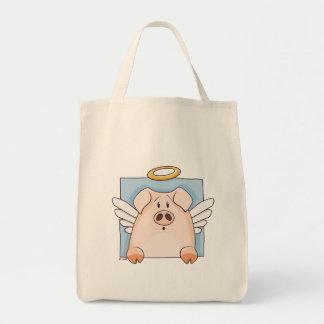 Cute Cartoon Angel Pig Organic Grocery Tote Canvas Bag