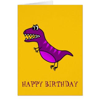 Cute cartoon angry purple dinosaur greeting card