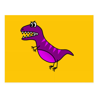 Cute cartoon angry purple dinosaur postcard