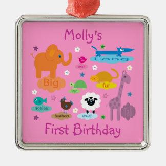 Cute Cartoon Animals Girl's Birthday Keepsake Christmas Ornaments