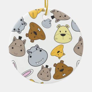 Cute Cartoon Animals Portrait Pattern Ceramic Ornament