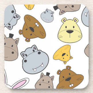 Cute Cartoon Animals Portrait Pattern Coaster