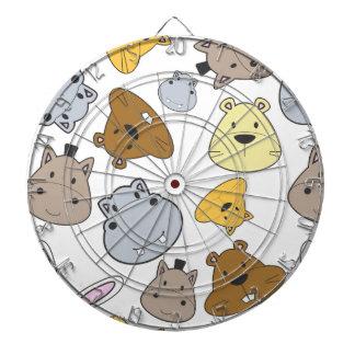 Cute Cartoon Animals Portrait Pattern Dartboard