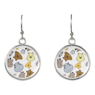 Cute Cartoon Animals Portrait Pattern Earrings