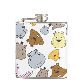 Cute Cartoon Animals Portrait Pattern Hip Flask