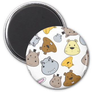 Cute Cartoon Animals Portrait Pattern Magnet