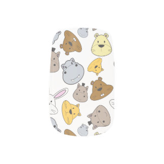 Cute Cartoon Animals Portrait Pattern Minx Nail Art