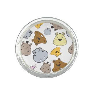 Cute Cartoon Animals Portrait Pattern Ring