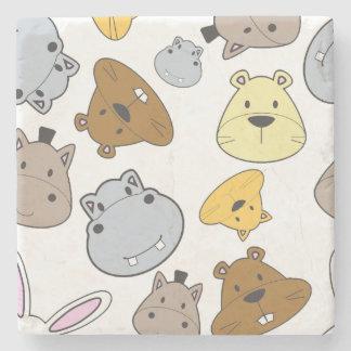 Cute Cartoon Animals Portrait Pattern Stone Coaster
