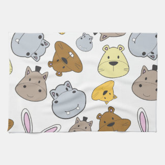 Cute Cartoon Animals Portrait Pattern Tea Towel