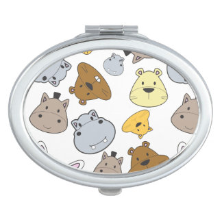 Cute Cartoon Animals Portrait Pattern Travel Mirror