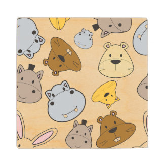 Cute Cartoon Animals Portrait Pattern Wood Coaster