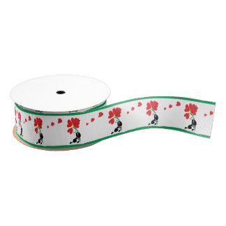 cute cartoon ant with the flower of love grosgrain ribbon
