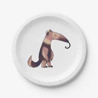 cute cartoon anteater paper plate