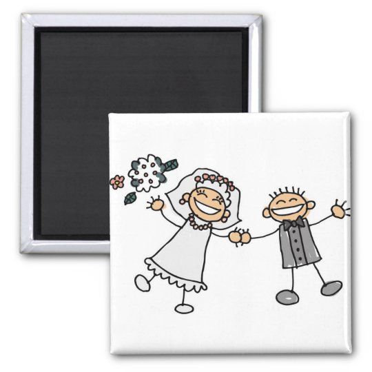 Cute Cartoon Artistic Wedding Save The Date Magnet