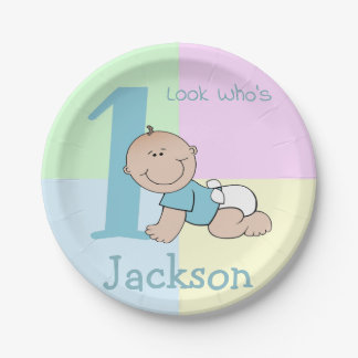 Cute Cartoon Baby Boy 1st Birthday Paper Plate