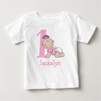 Cute Cartoon Baby Girl 1st Birthday Baby T-Shirt