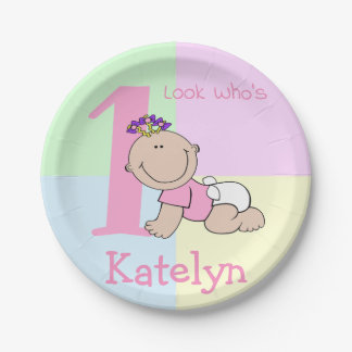 Cute Cartoon Baby Girl 1st Birthday Paper Plate
