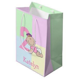 Cute Cartoon Baby Girl 2nd Birthday Medium Gift Bag