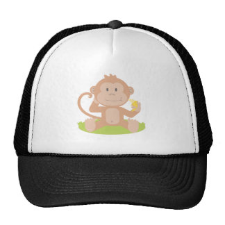 Cute Cartoon Baby Monkey Sitting and Eating Banana Hat