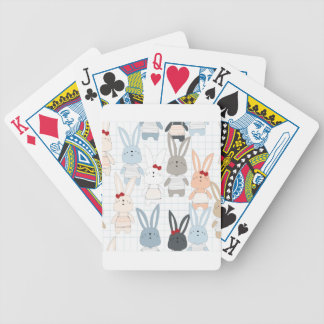 Cute cartoon baby rabbit bunny funny character bicycle playing cards