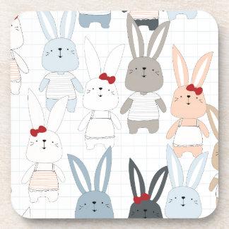 Cute cartoon baby rabbit bunny funny character coaster