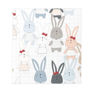 Cute cartoon baby rabbit bunny funny character notepad