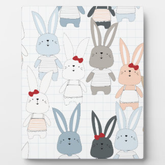 Cute cartoon baby rabbit bunny funny character plaque