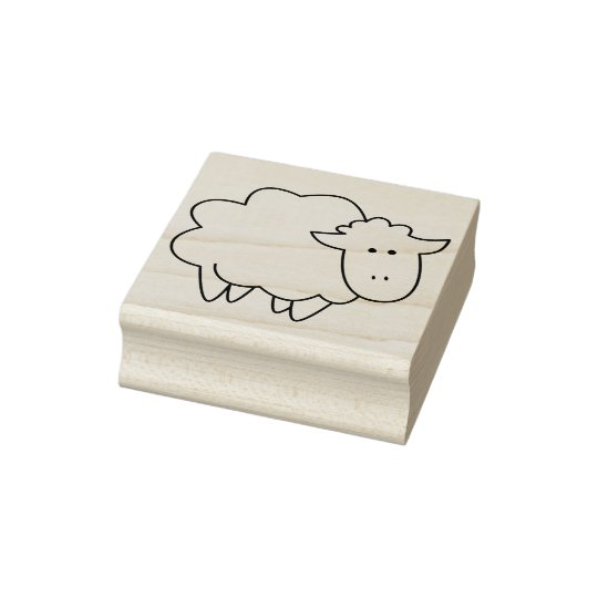 Cute Cartoon Baby Sheep Farm Animal Rubber Stamp