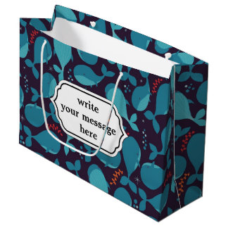 Cute cartoon baby whales marine pattern large gift bag