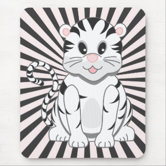 Cute Cartoon Baby White Tiger Cub Mouse Pad