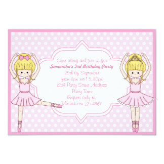 Cute Cartoon Ballerina Girl in Pink Party Invites