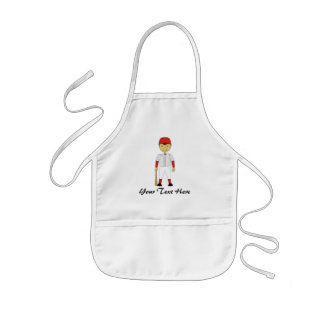 Cute Cartoon Baseball Player Red & White Uniform Kids Apron