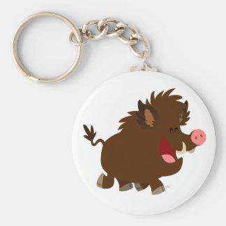 Cute Cartoon Beaming Wild Boar Keychain