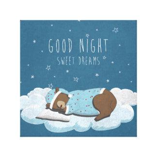 Cute cartoon bear illustration canvas print