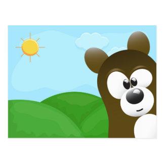 Cute Cartoon Bear Photo Bomb Postcard